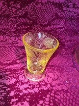 Lemon Yellow Florentine 2 Depression Glass Dinner Plate and Juice Tumbler - $23.99