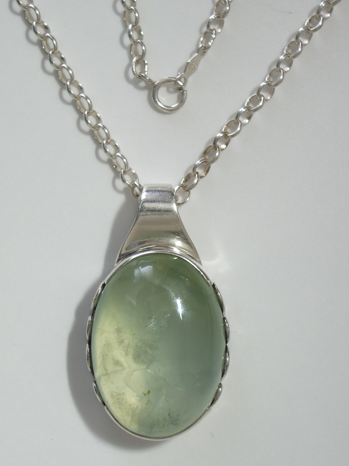 "Primary image for Sterling Silver Bezel Green Chalcedony Cabochon Pendant w/ 16"" 2.8 mm SS Cable C"
