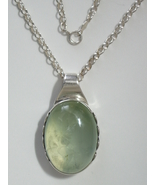"Sterling Silver Bezel Green Chalcedony Cabochon Pendant w/ 16"" 2.8 mm SS... - $148.00"