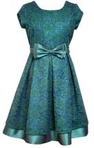 Bonnie Jean Little Girtls 4-6X Teal Metallic Lace Social Party Dress