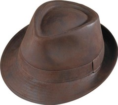 Henschel Faux Ultra Suede Fedora Satin Lined Distressed Brown Distressed... - $52.00