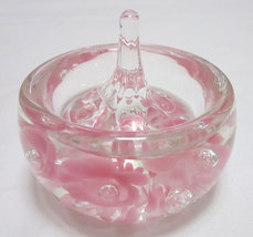 Paperweight Crystal Pink and Clear Jewelry holder - $36.85