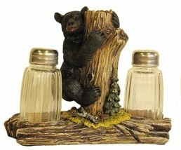 Bear On Tree Salt & Pepper Shaker Set Home Cabin Lodge Decor Gift - $22.98