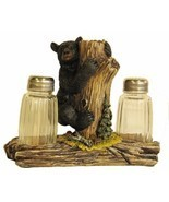 Bear On Tree Salt & Pepper Shaker Set Home Cabin Lodge Decor Gift - £17.26 GBP