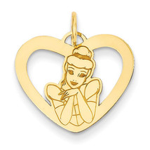 Disney Collection 925 Sterling Silver Gold Plated Cinderella Heart Charm - $40.14