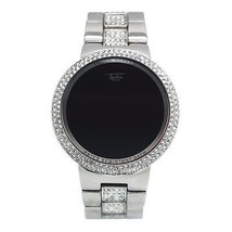 Techno Pave Full Iced Out Silver Digital Touch Screen Designer Metal Ban... - $46.53 CAD