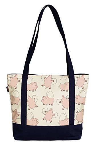 Vietsbay Women Flying Pig Print Heavyweight White Canvas Handbag