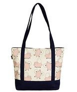Vietsbay Women Flying Pig Print Heavyweight White Canvas Handbag - £20.28 GBP