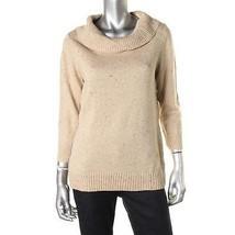 CHARTER CLUB NEW Womens Tan Metallic Turtleneck Sweater Top Petites PM - $13.99