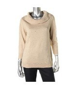 CHARTER CLUB NEW Womens Tan Metallic Turtleneck Sweater Top Petites PM - €12,24 EUR