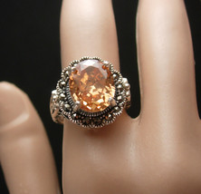 4 CT Madeira Citrine Cocktail Ring Vintage Sterling Silver Engagement Si... - $155.00