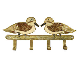 Vintage Inlaid Solid Brass Birds Key Mounted Wall Hook Rack Holder 4 Hooks - $48.00