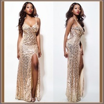 Evening Goddess Gold Sequin V Neck Empire Waist Spaghetti Strap Hollywood Gown - $92.95