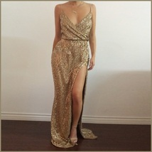 Evening Goddess Gold Sequin V Neck Empire Waist Spaghetti Strap Hollywood Gown image 2