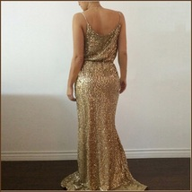Evening Goddess Gold Sequin V Neck Empire Waist Spaghetti Strap Hollywood Gown image 3