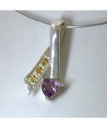 Pendant Ametrine Purple Yellow Citrine 925 Silver Unisex Ribbon Arrow De... - $69.35