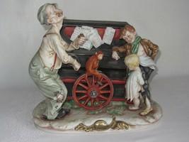 Porcelain Bisque Figurine Organ Grinder Monkey 2 boys Vtg Capodimonte? M... - $199.97