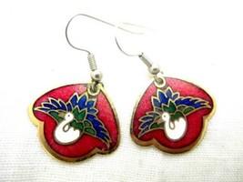 Red Vintage Gold Toned Cloisonne Enamel Peacock Bird Dangle Pierce Earri... - $17.81
