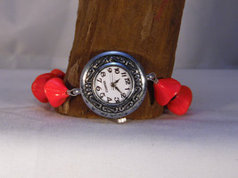 Silver Quartz Watch with Red and Black Poppy Beads with Magnetic Clasp - $14.99