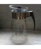 Retro Vtg. Corning Mid-Century Glass Coffee Carafe Gold Atomic Starburst... - $263,17 MXN
