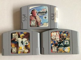 3 NINTENDO 64 VIDEO GAME LOT NFL: QUARTERBACK CLUB 98 & 99 MADDEN 2000 ~... - $9.89
