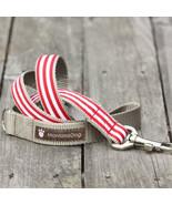 Mod Stripe Red Grosgrain Dog Leash (120cm, 4ft.) / Made in Japan - $36.00