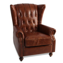 MarquessLife 100%Genunie Leather Handmade Tufted High Wing Back Sofa Armchair image 1