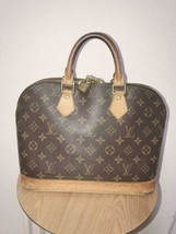 Auth Louis Vuitton Alma Hand Bag Brown Monogram Medium Leather PVC LVB0073 - $416.79