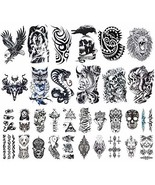 32 Sheets Temporary Tattoos Stickers, 12 Sheets Fake Arm Chest Shoulder ... - $21.22