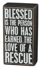 "Blessed Earned Love of Rescue Box Sign Primitives Kathy 3"" x 5.5"" wood - $11.95"