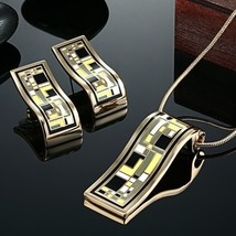 Romantic Stainless Steel Bridal Jewelry Sets Collares Colorful Enamel Pendant &  - $22.37