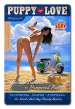 Puppy Love Beach Bunny Pin Up Metal Sign Greg Hildebrandt - $29.95