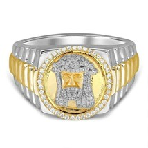 10kt Gold Plated Moissanite Diamond JESUS FACE RING, BIG HIP HOP RING FO... - £218.08 GBP