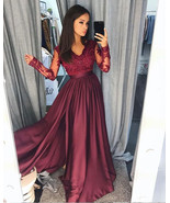 Charming V Neck Long Sleeves Prom Dresses with Appliques Lace - $179.99