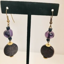 Vintage Asian Inspired Purple Carved Gold Tone Dangle Drop Hook Earrings... - $10.44