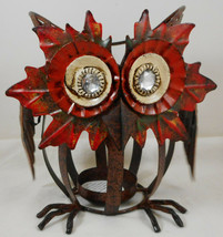 "Owl Tealight Candle Holder Fall Decor Metal 6"" - $17.77"