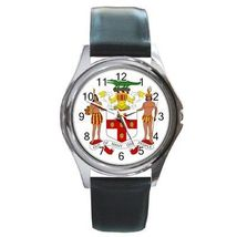 Jamaica Coat of Arms Round Leather Band Watch Jamaican - $9.39