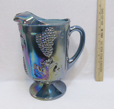 Indiana Glass Water Juice Pitcher Blue Carnival Harvest Grape Leaf Iride... - $29.69