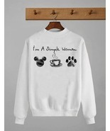 I'm A Simple Woman Mickey Coffee Dog Lover Shirt Crewneck Pullover Sweat... - $30.99+
