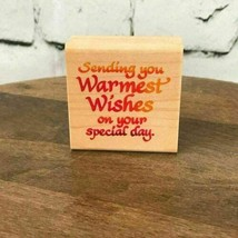 "Warmest Wishes On Your Special Day Rubber Stamp Stampendous 1997 #D075 2""X2"" New - $9.89"