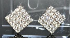 VTG Silver Tone Clear Rhinestone Art Deco Style Diamond Shape Clip Earrings - $29.70