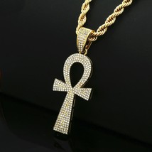 0.89 Ct CZ Diam Iced Out Men's Egyptian Ankh Pendant Necklace 14k Yellow... - $98.99