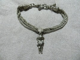 Ant.Victorian Silver Triple Chains Bracelet w/Cherub Angel Charm Hook Cl... - $134.99