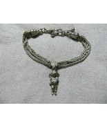 Ant.Victorian Silver Triple Chains Bracelet w/Cherub Angel Charm Hook Cl... - $134.99