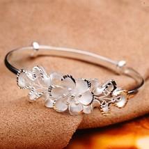 Female Sweet Bauhinia Adjustable Bracelet Women Flower Vera 925 Silver Bracelet  - $10.12