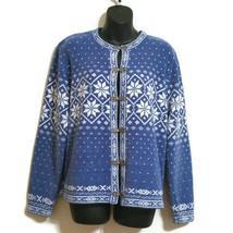 Women's Croft & Barrow Cardigan Sweater Fair Isle Blue White Snowflake W... - $14.78