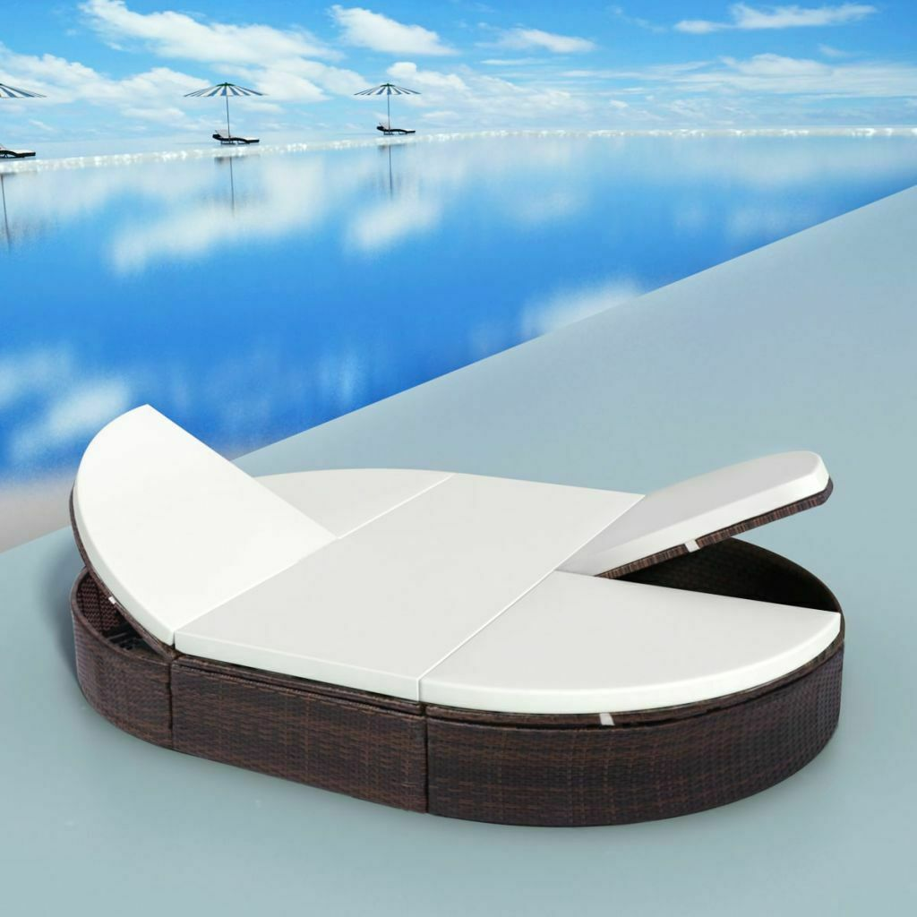 """vidaXL Sunlounger with Cushion Poly Rattan 78.7"""" Lounge Beds Seat Black/Brown"""