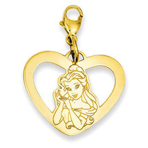 Disney Collection Silver Gold Plated Disney Belle Heart Lobster Clasp Charm - $56.81