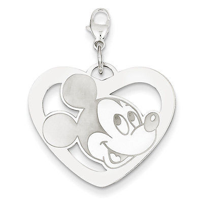 Disney Collection 925 Sterling Silver Disney Mickey Heart Lobster Clasp Charm