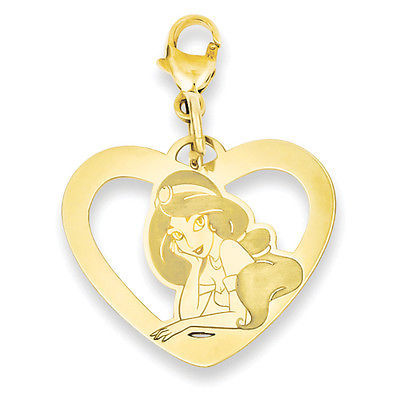 Disney Collection Silver Gold Plated Jasmine Heart Lobster Clasp Charm
